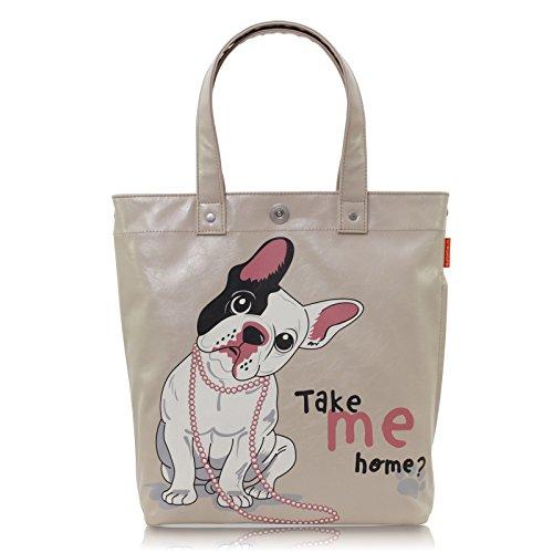 Tasche Jugendliche Mädchen Schultertasche Handtasche Shopper Motiv Hund Veganes Leder Beige A4 Uni Style A100018