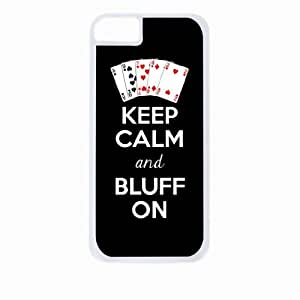 Keep Calm and Bluff On - Iphone 4 Rubber DOUBLE LAYER PROTECTION white case - compatible with Iphone 4 4S