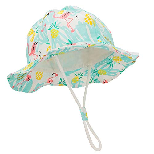 Durio Baby Sun Hat Summer Beach UPF 50+ Sun Protection Baby Boy Hats Double Sides Toddler Sun Hats Cap for Baby Girl Kid Bucket Hat Light Blue 21.3