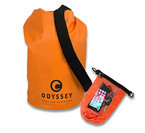 Odyssey Waterproof 10L   20L Dry Bag (Orange   Black) - Roll Top Dry  Compression Sack Keeps Gear Dry for Kayaking 5b34b19fbfbed