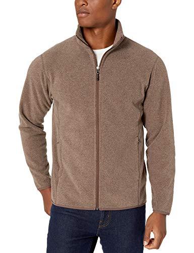 Amazon Essentials Men's Full-Zip Polar Fleece Jacket, Dark Brown Heather, Large