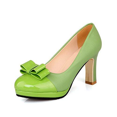 VogueZone009 Damen Rein Hoher Absatz Ziehen auf Rund Zehe Pumps Schuhe Grün