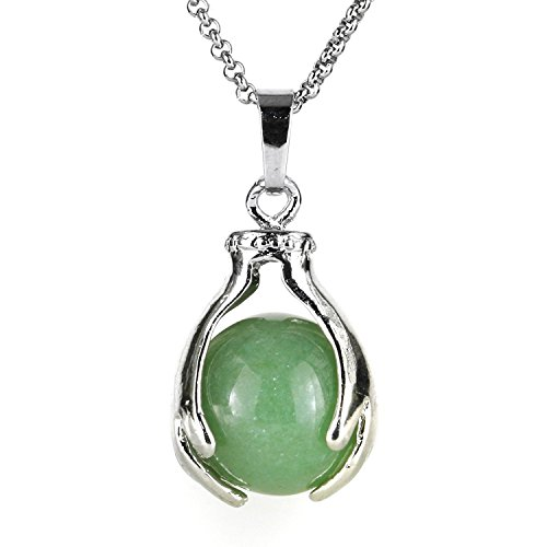 BEADNOVA Healing Natural Green Aventurine Gemstone Necklace Crystal Ball Pendant Necklace with Stainless Steel Chain 18