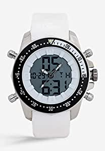 Mon Grandeur Mens Analog Digital Watch Strap Material Polyurethene with White Color and Dial color Black and White GR-GF12181-White
