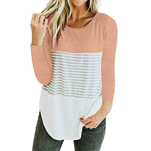 (clearance sale!!ZEFOTIM Women Long Sleeve Triple Color Block Stripe T-shirt Casual Blouse (US-14/CN-XL,Pink))
