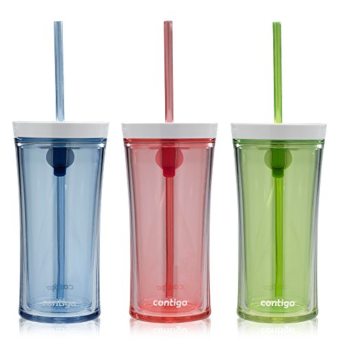 (Contigo Shake & Go Water Bottles, 16oz, Monaco/Citron/Watermelon, 3-Pack)
