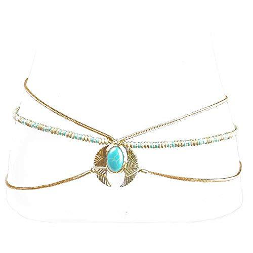- Sexy Waist Belt Imitation Gems Belly Unibody Body Chain(Gold)