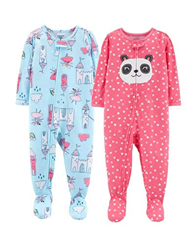 - Carter's Baby Girls' 2-Pack Cotton Footed Pajamas (5T, Blue Castle/Pink)