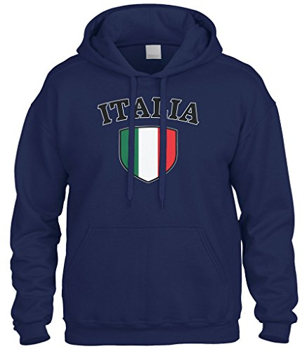 Cybertela Italia Flag Crest Shield Sweatshirt Hoodie Hoody (Navy Blue, Large)
