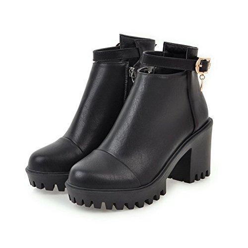High AgooLar Zipper Heels Wool Toe Black Solid Boots Lining Round Women's SnwqU61