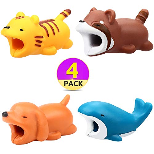 Lingpeng 4PCS Cute Animal Cable Bites,Various Animal Cable Cord Data Line Cell Phone Accessories Protects Creative Gift