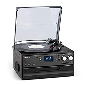 auna Oakland DAB Retro Stereo System – DAB + / FM Radio Tuner , Bluetooth Function , Turntable , Record Player , Belt Drive 33/45/78 RPM , CD Player , Cassette Deck , MP3 Recording , USB , SD