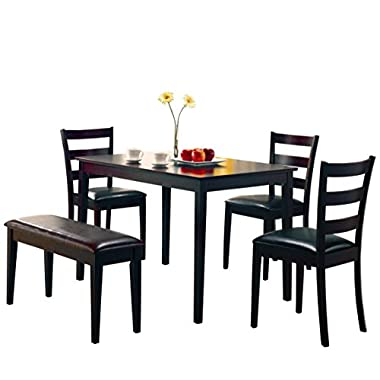 Coaster 5pc Dining Table, Chairs & Bench Set Cappuccino Finish