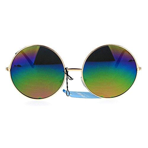 Womens Rusta Rainbow Mirror Lens Large Hippie Round Circle Lens Sunglasses - Circle Mirror Oversized