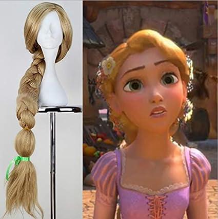 Peluca larga rubio para cosplay de Rapunzel con pelo trenzado sintético resistente al calor para Halloween