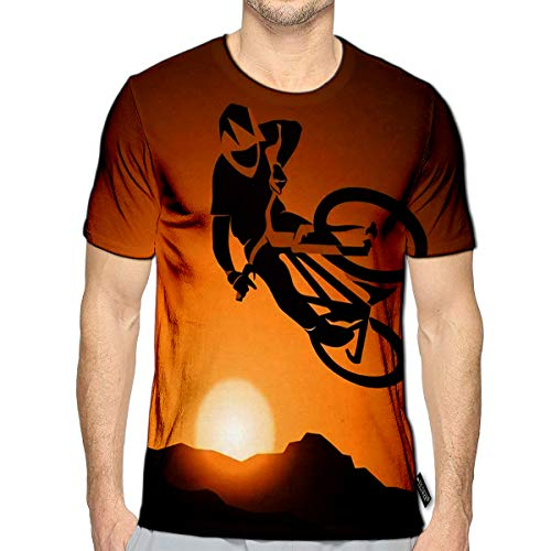 3D Printed T-Shirts Bicycle MTB Trick Jump Short Sleeve Tops Tees e