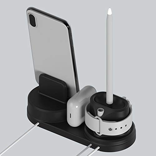 Price comparison product image JDgoods 4 in1 Apple iPhone iWatch Earphone Pencil AirPod Charging Dock Station Holder Black (Black)
