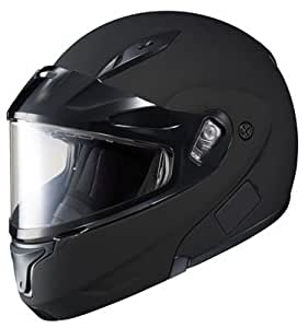 HJC CL-Max 2 Solid Bluetooth Ready Modular Snowmobile Helmet with Dual Lens - Matte Black, Medium