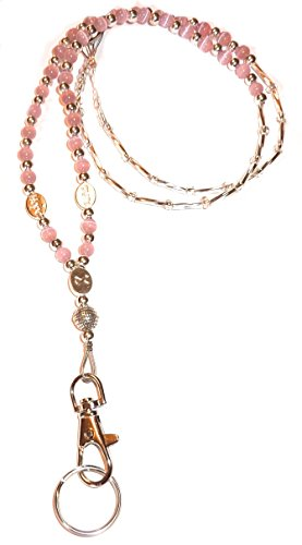 Hidden Hollow Beads Cancer Awareness Women's Beaded Fashion Lanyard Necklace, Jewelry ID Badge and Key Holder, 34 in.