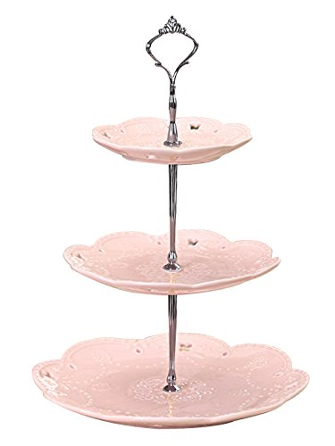 mic Cake Stand/ Cupcake Stand Tower/ Dessert Stand/ Pastry Serving Platter/ Food Display Stand , Pink (3RP Silver) (Silver Tea Tray)