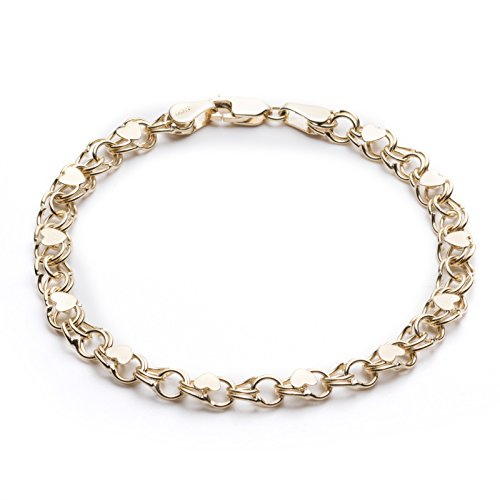 10k Charm Bracelet (8 Inch 10k Yellow Gold Heart Bracelet for Women and Girls, (0.19