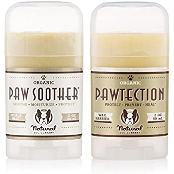 Natural Dog Company PAWDICURE PACK | Paw Soother and PawTection | Organic, All-Natural | For Healing Dry/Cracked Dog Paw Pads | Paw Soother 2 oz Stick + PawTection 2 oz Stick