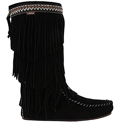 Lamo Women's Virginia Fringe Boot, Slouch Boots Calf -Chestnut B06XJC4W6Q 10 B(M) US|Black