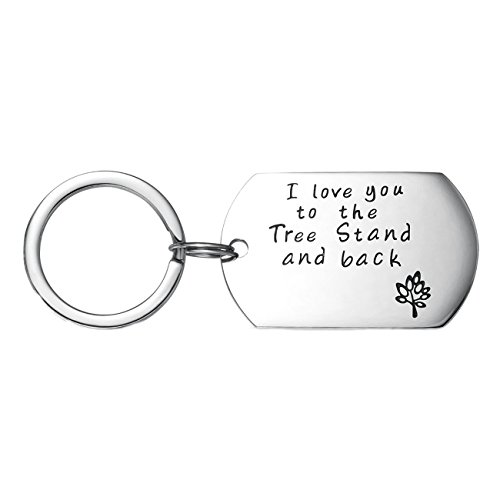Udobuy I Love You to The Tree Stand and Back Hand Stamped Keychain Gift for Dad Daddy Keychain Hunting Keychain Father Son Hunting Dad Gift