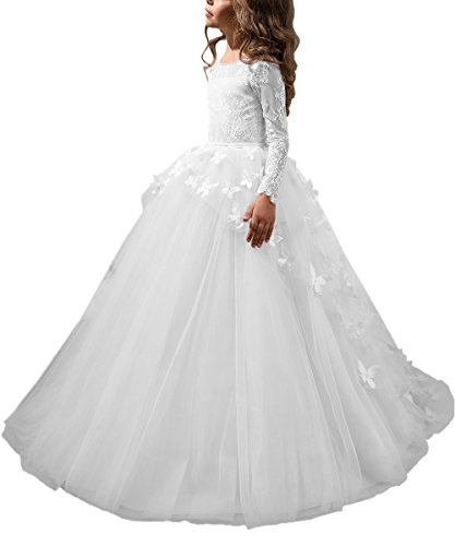 Abaowedding Lovely First Communion Dress Long Sleeves Prom Gown White,Size 12