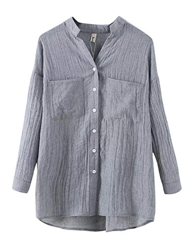 Lentta Women's Long Roll Up Sleeves Button Down V Neck Thin Summer Linen Shirts (Medium, Grey)