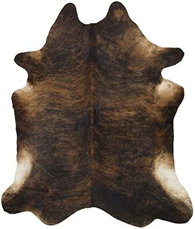 Handpicked Hacienda Brown Black Cowhide Leather Rug 6 x 7