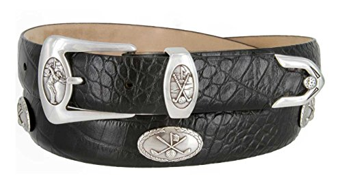 BC3109 - Men's Italian Calfskin Designer Dress Belt with Golf Conchos (42 Alligator (3 Piece Leather Concho Belt)