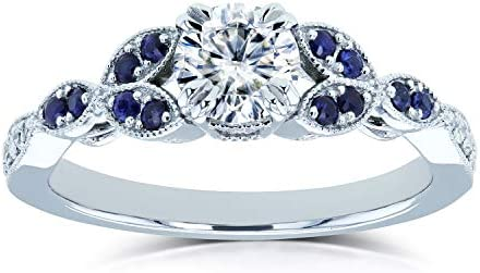 Kobelli Round Moissanite with Blue Sapphire Accents Leafy Engagement Ring 5/8 CTW 14k White Gold (HI/VS, GH/I)