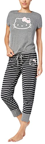 Hello Kitty Juniors Pajama Set T-shirt Top & Jogger Pants Simply Basic