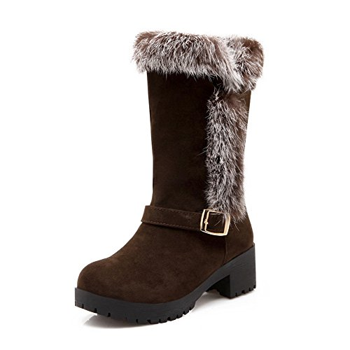 Frosted Buckle Girls Brown Fur Ornament Boots Heels 1TO9 Chunky nOaCqRP