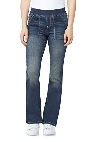 WallFlower Women's Juniors Elastic Waistband Pull On Bootcut Jeans in Basic Basel, ()