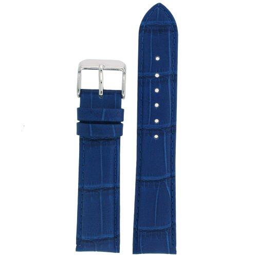 Tech Swiss LEA670-20 Watch Band Crocodile Grain Blue Stitching Padded 20 ()