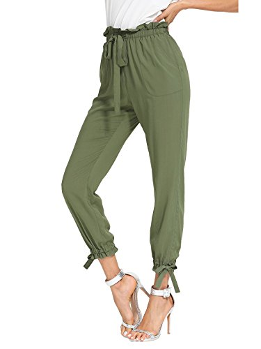 SheIn Women's Elastic Waist Comfy Bow Tie Hem Crop Skinny Pants with Pockets Large Army-Green -