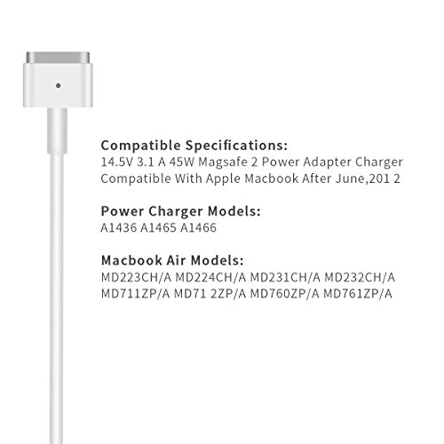 Macbook Air Charger, 45W Magsafe 2 T-Tip Power Adapter Charger replacement for MacBook Air 11/13 inch by SUPSUN (Image #3)