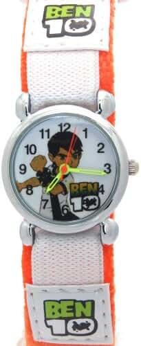 Ben 10 Children Cartoon Orange Velcro Strap Stainless Steel Case Waterproof Analogue Quartz Watches