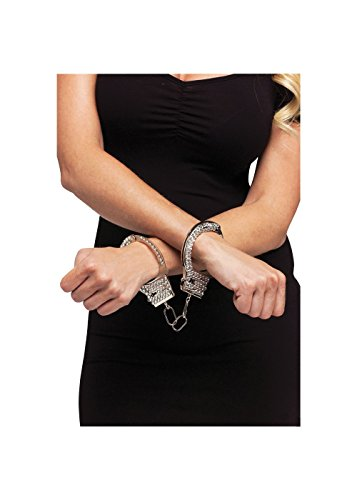 Fun World Women's Rhinestone Handcuffs, Silver, Standard (Suction Hand Cuffs)