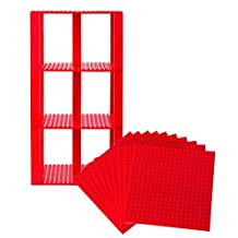 "Premium Red Stackable Base Plates - 10 Pack 6"" x 6"" Baseplate Bundle with 80 Red Bonus Building Bricks Compatible with All Major Brands - Tower Construction"