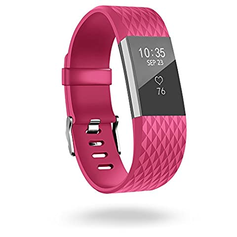 Fitbit Charge 2 Band,Silicone Sport Wristband with Secure Metal Buckle Clasp for Fitbit Charge 2 Replacement Wristbands Large 6.3-8.7 Inches (Magenta Green)