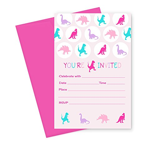 Girls Dinosaur Birthday Party Invitations (Fill In) Set of 15 with Envelopes (Dinosaur Birthday Party Invitation)