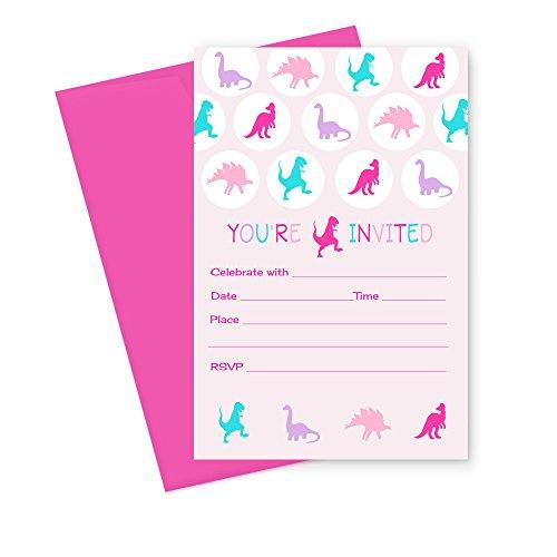 Dinosaur Birthday Party Invitation (Girls Dinosaur Birthday Party Invitations (Fill In) Set of 15 with Envelopes)