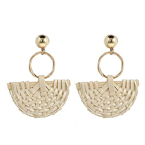 - Multiple Fashion Styles Handmade Bamboo Geometric Wooden Rattan Drop Earrings For Women 2019 Korea Party Jewelry Gift,16
