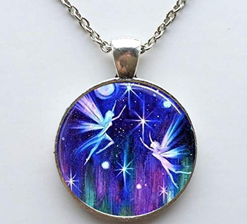 Fairies Flying Necklace Photo Pendant Necklace Altered Art Picture Pendant Necklace Handcrafted Jewelry