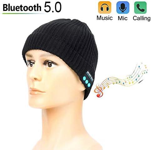 ワイヤレスBluetoothスマートユニセックスミュージックキャップピュアシンプルニットヘッドフォンヘッドフォン,黒