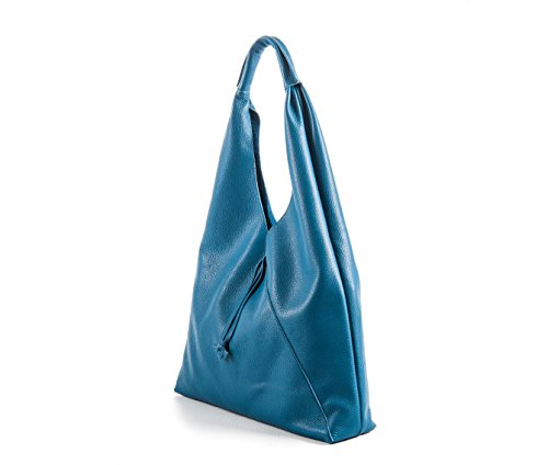 New Francesca - Borsa a sacca in pelle color turchese - PassioneBags - Made in Italy