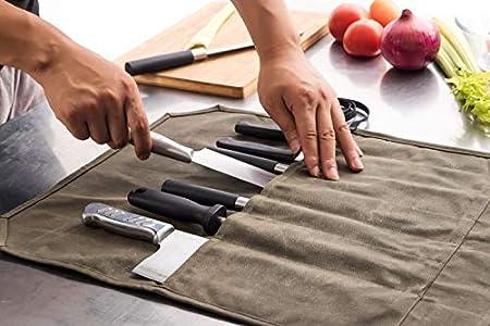 chengsan Bolsa de lona encerada resistente de 12 onzas, bolsa de almacenamiento para cuchillos de chef, portátil, 7 ranuras, gran capacidad, fácil de llevar, con correa de regalo, regalo superior para cocinero